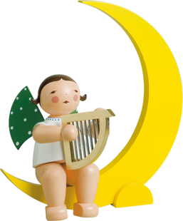771/14b, Angel with Harp, in Moon, Large