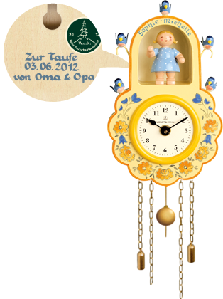 Wall Clock, Yellow, with Girl and Birds