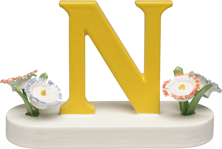 Letter N, with Flowers