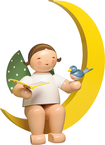 Angel with Songbook and Bird, in Moon, Large
