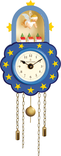 Wall Clock, Blue, with Suspended Angel