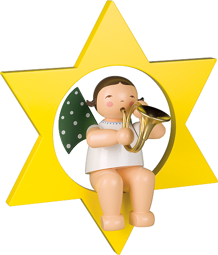 Angel with French Horn, in Star, Large