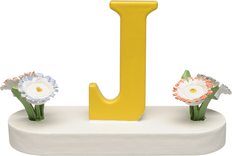 Letter J, with Flowers