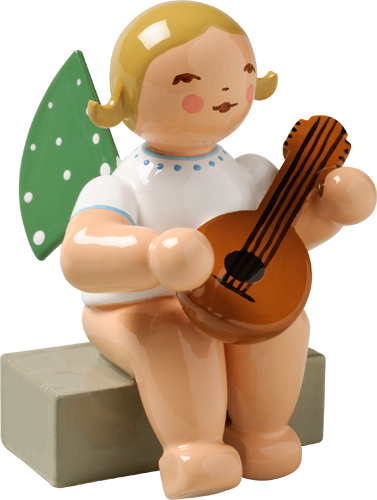 Angel with Mandolin, Sitting