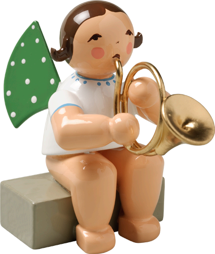 Angel with French Horn, Sitting