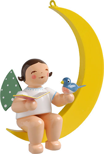Angel with Songbook and Bird, in Moon